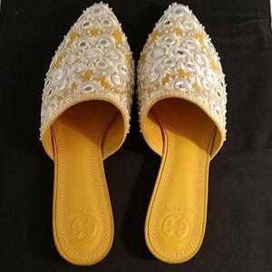 "TORY BURCH ""INDIA GOLD"" MULES SZ. 7 BRAND NWT!"